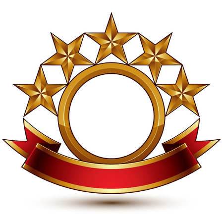 relic: Majestic vector golden ring isolated on white background, 3d polished five golden stars. Heraldic branded symbol with festive red ribbon. Dimensional glossy decorative stars, elegant shaped blazon. Eps8. Illustration