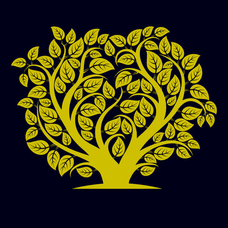love shape: Vector illustration of tree with decorative leaves and branches in the shape of heart. Beautiful image on ecology theme. Love nature and environment conceptual illustration. Illustration