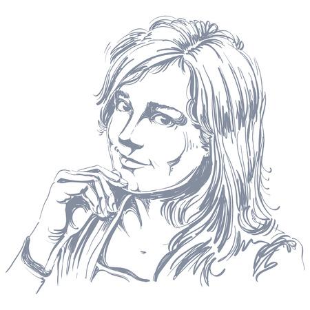 hot temper: ilustración vectorial dibujado a mano de la hermosa mujer amante romántico. imagen monocroma, las expresiones en la cara de la señora joven, rasgos delicados. Vectores