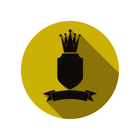 heraldic symbol: Heraldic symbol, protection shield with king crown and beautiful ribbon. Royal emblem, imperial stylish icon, for use in graphic design. Illustration