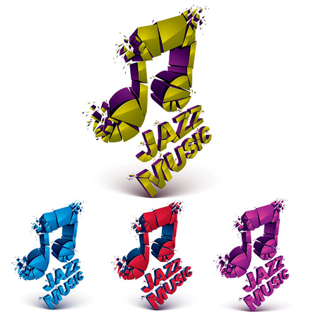 grooves: Colorful 3d vector musical notes collection broken into pieces, explosion effect. Set of dimensional art melody symbols, jazz music theme.