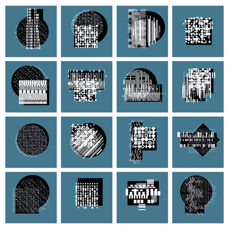 vector abstract: Abstract graphic arts set, vector geometric illustrations collection.