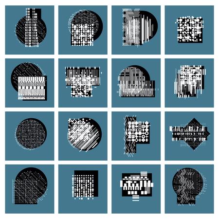 conjunto de artes gráficas abstracto, vector colección de ilustraciones geométricas. Ilustración de vector