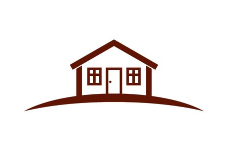 homely: Abstract vector simple house with horizon line. Best for use in graphic design as a corporate symbol. Countryside idea, beautiful village landscape. Illustration