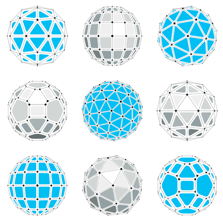 gray netting: Collection of abstract vector low poly objects with lines and dots connected. Set of futuristic balls with overlapping lines mesh and geometric figures. 3d shapes can be used in technical modeling. Illustration