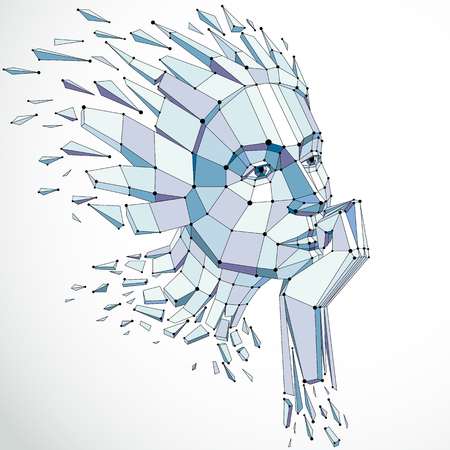 demolished: Vector dimensional low poly female portrait with lines mesh, graphic illustration of human head broken into fragments. 3d demolished wireframe object created with fractures and different particles.