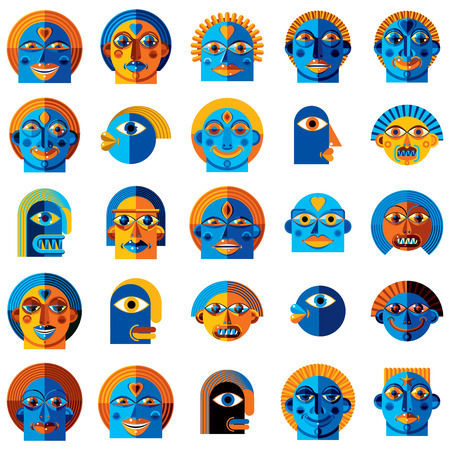 human face: Mythic creatures collection, vector modern art. Set of fantastic odd characters expressing different emotions.