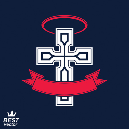 aureole: Religious cross emblem with nimbus and decorative ribbon, spiritual idea symbol. Christianity icon, web design element.