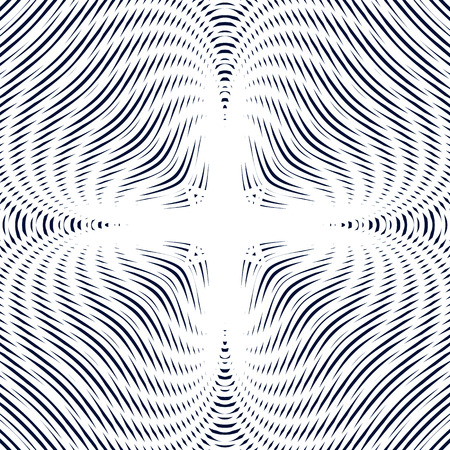 visual effects: Optical illusion, moire background, abstract vector lined monochrome tiling. Unusual geometric pattern with visual effects. Illustration