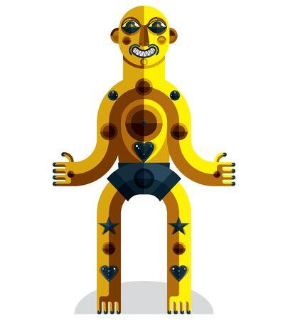 cubismo: Dibujo Diseño plano del carácter extraño, imagen de arte en estilo del cubismo. Vector ilustración colorida del tótem espiritual aislado en blanco.