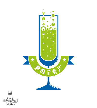 sensitivity: Simple vector champagne party goblet with bubbles and festive ribbon. Alcohol beverage graphic design element � anniversary celebration idea, eps8 sparkling wine illustration.