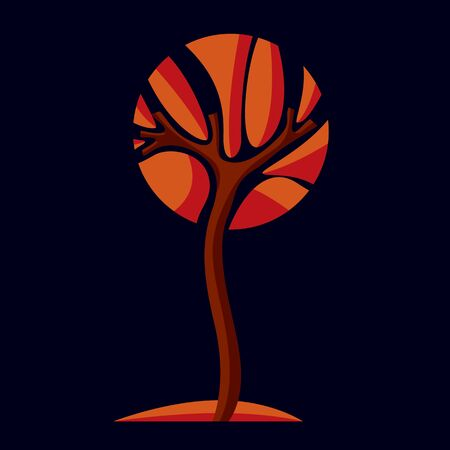 insight: Art fairy illustration of tree, stylized eco symbol. Insight vector image on season idea, beautiful picture. Illustration