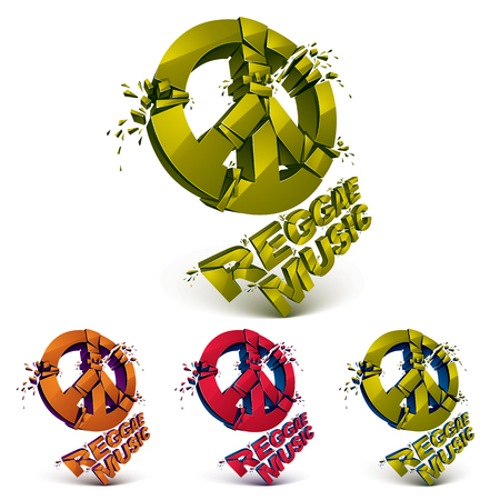 transform: Green, red and orange 3d vector peace signs collection created from refractions isolated on white. Set of reggae music theme three-dimensional transform design elements. Illustration