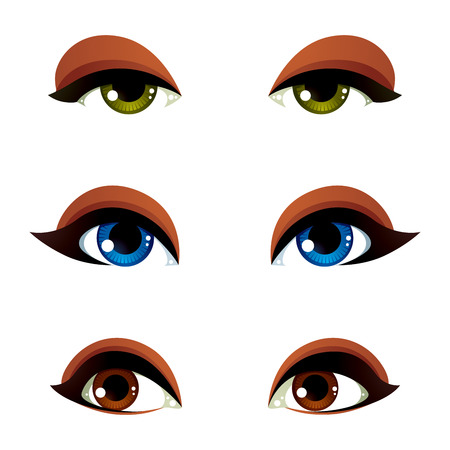 green eye: Vector female eyes collection in different emotion with blue, brown and green eye iris. Women eyes with stylish makeup isolated on white background.