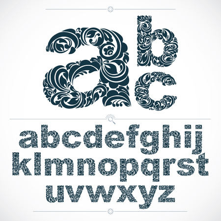 typescript: Set of beautiful lowercase letters decorated with herbal ornament. Black and white vector typescript made in floral style.