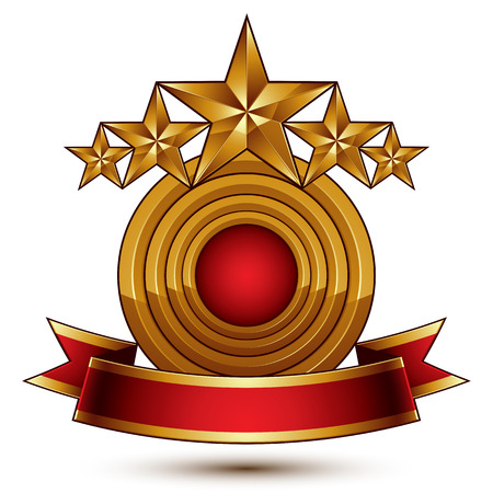 blazon: 3d vector classic royal symbol with sophisticated five golden stars and red decorative wavy ribbon, glossy golden element isolated on white background. Elegant blazon.