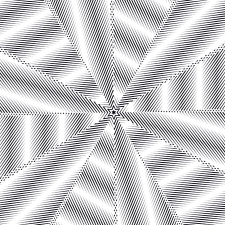 trance: Illusive background with black chaotic lines, moire style. Contrast geometric trance pattern, optical vector backdrop.