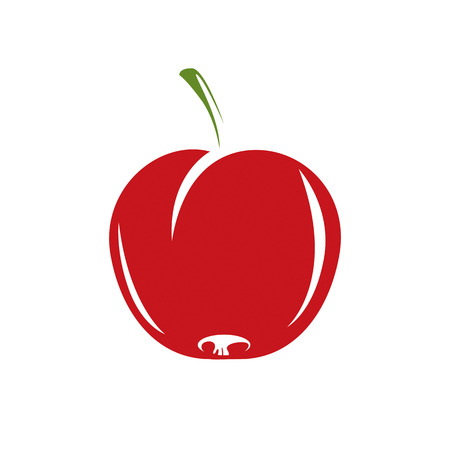 fertility emblem: Harvesting symbol, single vector red fruit isolated. Ripe organic whole sweet apple, healthy food idea design icon.