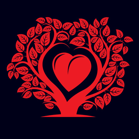 genealogy: Vector illustration of tree with branches in the shape of heart with an apple inside, love and motherhood idea image. Tree of life theme illustration. Illustration