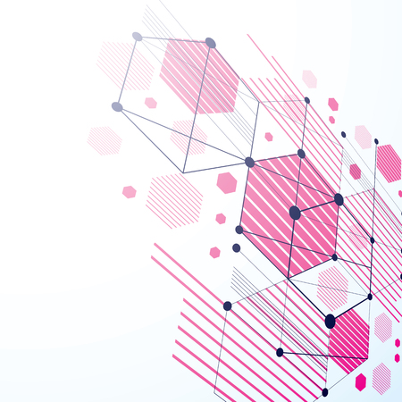 bauhaus: Modular Bauhaus 3d vector magenta background, created from simple geometric figures like hexagons and lines. Best for use as advertising poster or banner design. Illustration