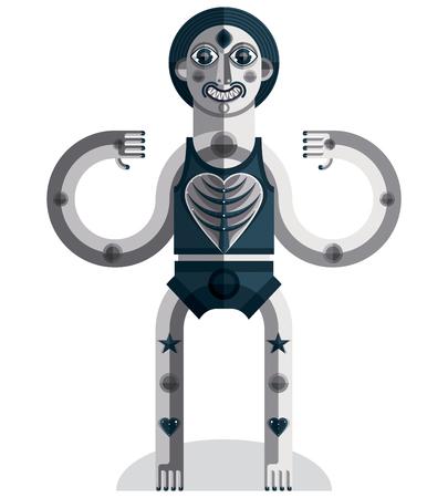 cubismo: Vanguardista avatar, dibujo en escala de grises creado en estilo del cubismo. retrato geométrica modernista, ilustración vectorial de ídolo.