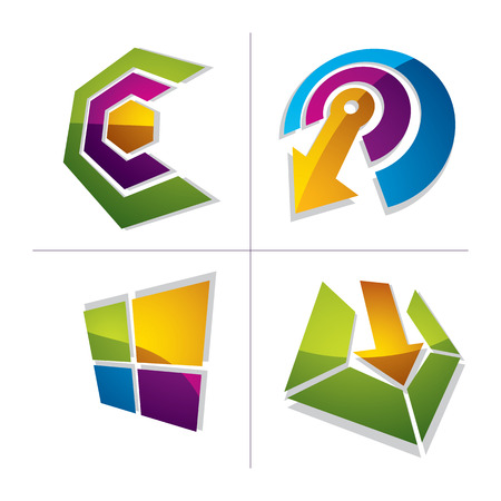 set the intention: Three-dimensional graphic elements collection with arrows, business development and technology innovation theme vector icons. Company growth concept, set of 3d abstract symbols.