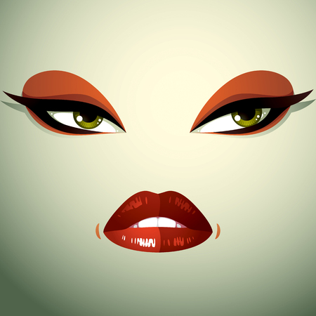 front of the eye: Face makeup, lips and eyes of an attractive woman displaying anger. Facial emotional expression.