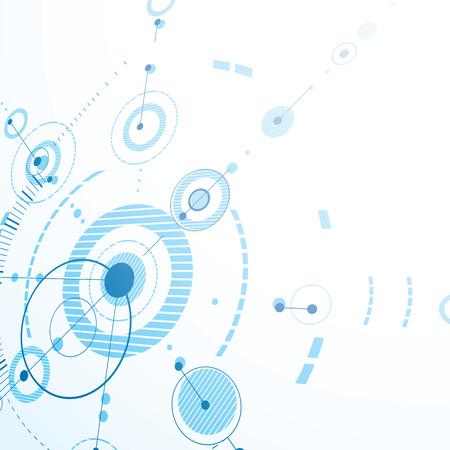 perspectiva lineal: Modular Bauhaus vector 3d fondo azul, creado a partir de figuras geométricas simples como círculos y líneas. Mejor para su uso como cartel de la publicidad o el diseño de la bandera. Vectores