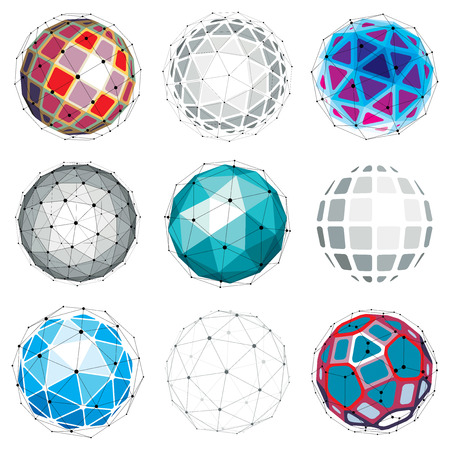 facet: Set of vector dimensional wireframe low poly objects, spherical facet shapes with grid. Technology 3d mesh elements collection can be used as design forms in engineering.