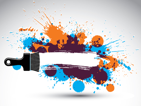 your text here: Art drawn funky vector illustration created with splashes and inky spots. Decorative colorful wallpaper drawn with painting brush can be used as website background. You can write your text here.