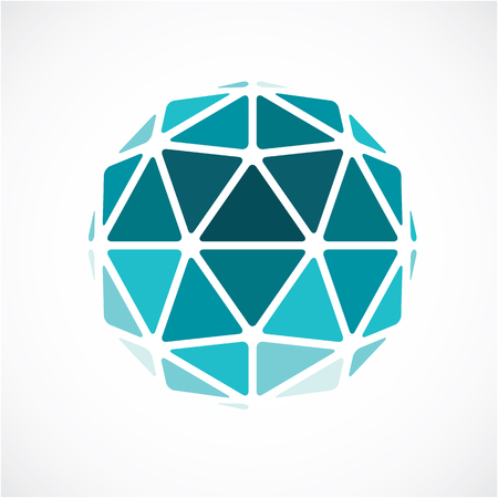 form a circle: 3d form made with black lines, futuristic origami abstract modeling. Green vector low poly design element, cybernetic orb shape for use in science and technology.