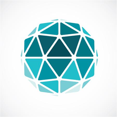 forme 3D faite avec des lignes noires, futuriste origami abstrait modélisation. vecteur vert low poly élément de design, la forme de globe cybernétiques pour une utilisation dans la science et de la technologie. Vecteurs