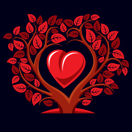 motherhood: Vector illustration of tree with branches in the shape of heart with an apple inside, love and motherhood idea image. Tree of life theme illustration. Illustration