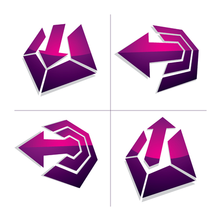 company growth: Three-dimensional graphic elements collection with arrows, business development and technology innovation theme vector icons. Company growth concept, set of 3d abstract symbols.