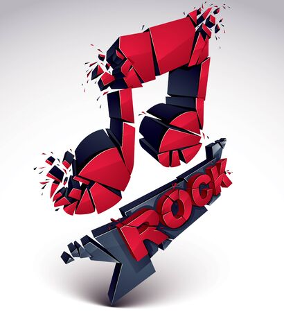 refractions: Red and black 3d vector musical note created from refractions isolated on white. Three-dimensional transform music theme design element. Rock music theme Illustration