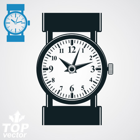 hour hand: Vector stylized black and white wristwatch illustration, elegant detailed quartz watch with dial and an hour hand. Retro strap watch, symbolic timepiece. Web business design element � time idea. Illustration
