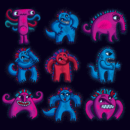 mythic: Set of vector cool cartoon monsters, colorful weird creatures. Clipart mythic characters for use in graphic design and as mascot.