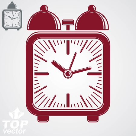 clang: Vector squared 3d alarm clock with two symmetric bells, decorative wake up conceptual icon. Graphic design element – get up theme. Red retro timer with clang bells and simple clockwise.