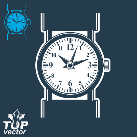 clockwise: Vector white wristwatch graphic illustration isolated on dark background, detailed strap watch, includes invert version. Web time conceptual business graphic design element, eps 8 clear vector illustration.