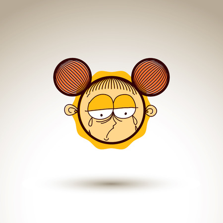 hairdo: Vector hand drawn sad crying girl with fashionable hairdo. Facial expression theme graphic element isolated. Social conversation idea cartoon drawing.