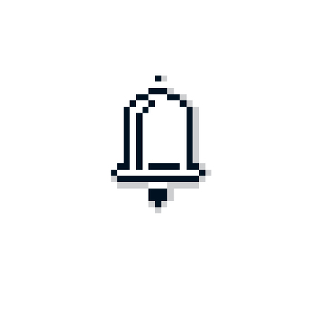 echo: Vector pixel icon isolated, 8bit graphic element. Simplistic ringing hand bell sign.