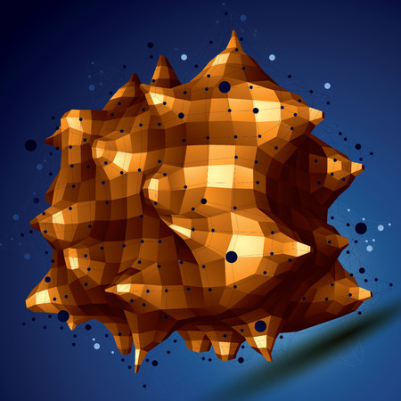 facet: 3D mesh modern stylish abstract construction, golden origami facet object constructed from different geometric parts.