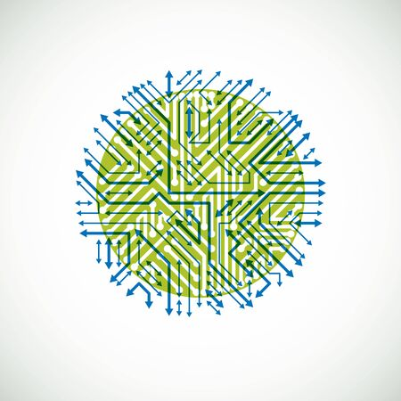 multidirectional: Futuristic cybernetic scheme with multidirectional arrows, vector motherboard green and blue illustration. Circular element with circuit board texture.