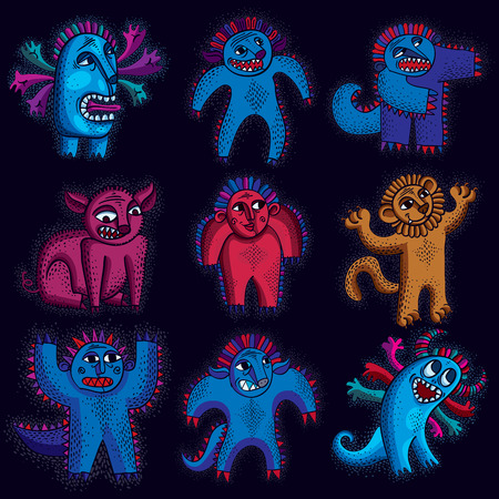 snoot: Comic characters, set of vector funny alien monsters. Emotional expression idea graphic symbols, design elements. Happy orange lion holding its paws up. Illustration