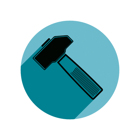 reparation: Detailed vector illustration of hammer, work tool. For use as branding emblem of reparation service or building company.