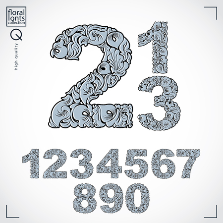 numeration: Set of beautiful numbers decorated with herbal ornament. Black and white vector numeration made in floral style.