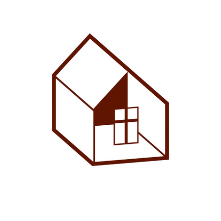 frontage: Building and engineering creative element for use in web and graphic design. Real estate agency, home insurance idea vector symbol. Abstract vector house.