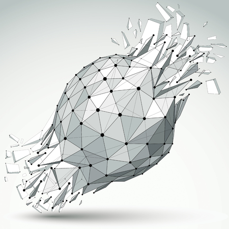 3d vector low poly object with black connected lines and dots, geometric wireframe shape with refractions. Asymmetric perspective shattered grayscale form with thread.