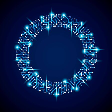 Vector abstract computer glare circuit board, blue round technology element with connections and neon lights. Electronics theme web design.