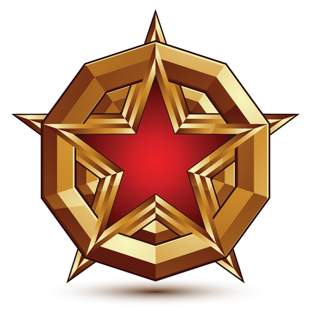 3d stylish vector template with pentagonal red star symbol placed on a golden rounded surface, best for use in web and graphic design. Conceptual aristocratic icon, clear eps8 vector. Illustration